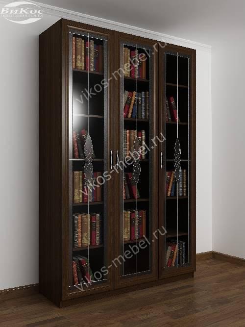 3-створчатый книжный шкаф с витражом цвета венге
