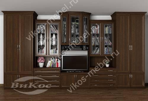 """Мебельная стенка """"наталия-2"""" классика в гостиную с вместительным шкафом цвета венге"""