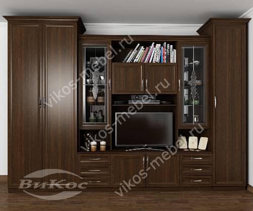 """Мебельная стенка """"уют"""" в зал с вместительным шкафом в классическом стиле цвета венге"""