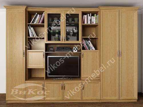 """Мебельная стенка """"трио"""" в гостиную с вместительным шкафом цвета бук"""