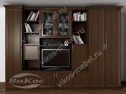 """Классическая мебельная стенка """"трио"""" в гостиную с вместительным шкафом цвета венге"""