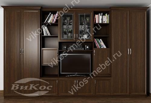"""Стенка """"трио"""" в кабинет с вместительным шкафом в классическом стиле цвета венге"""