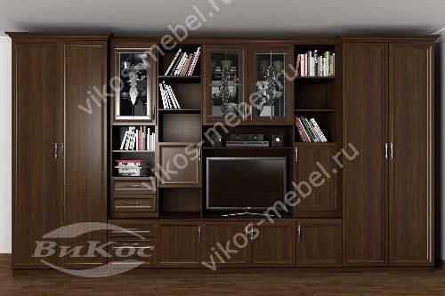"""Мебельная стенка """"трио"""" классика в зал с вместительным шкафом цвета венге"""