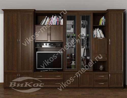 """Классическая мебельная стенка """"консул-2"""" в гостиную с вместительным шкафом цвета венге"""