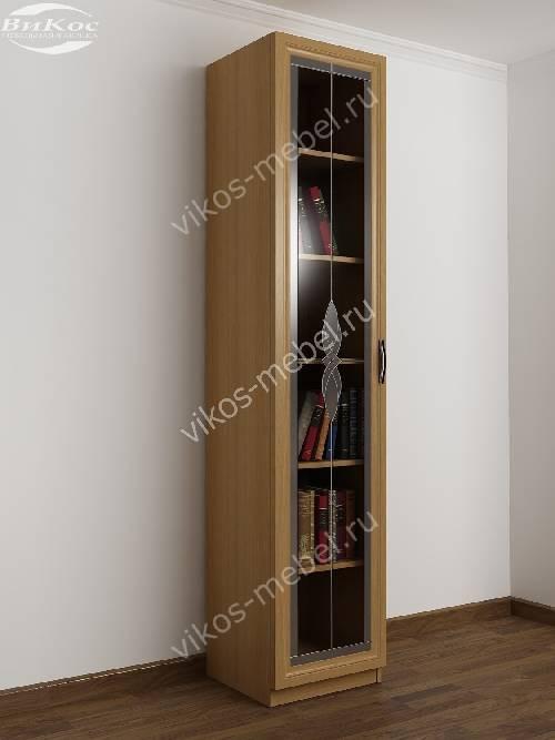1-створчатый витражный книжный шкаф со стеклом цвета бук