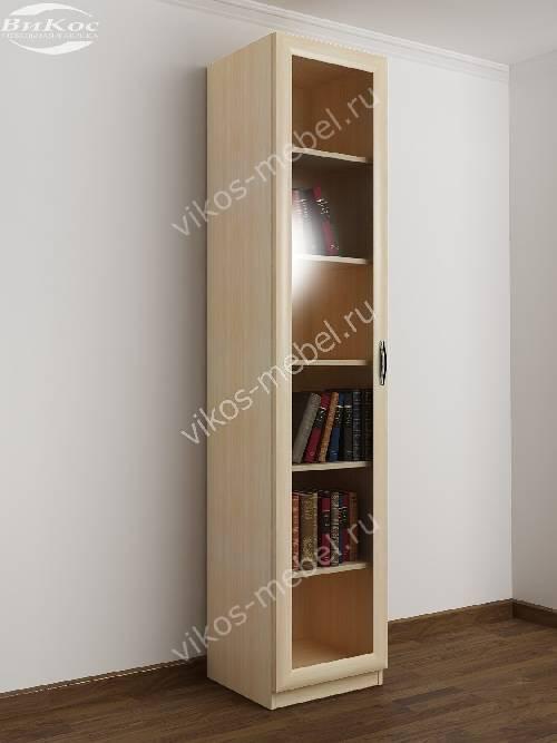 1-створчатый книжный шкаф со стеклом цвета молочный беленый дуб