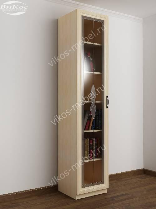 1-створчатый книжный шкаф со стеклом с витражом цвета молочный беленый дуб