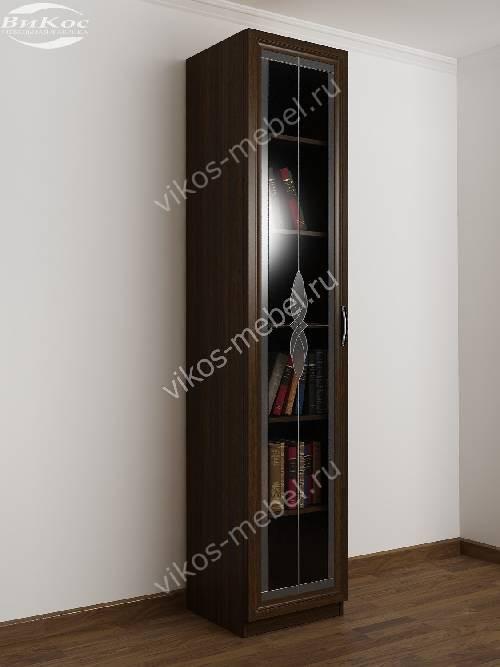 1-створчатый книжный шкаф со стеклом c витражным стеклом цвета венге