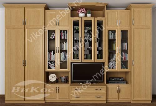 """Мебельная стенка """"валентин"""" в гостиную с вместительным шкафом цвета бук"""