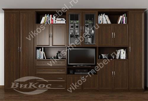 """Стенка """"селена"""" в кабинет с вместительным шкафом в классическом стиле цвета венге"""