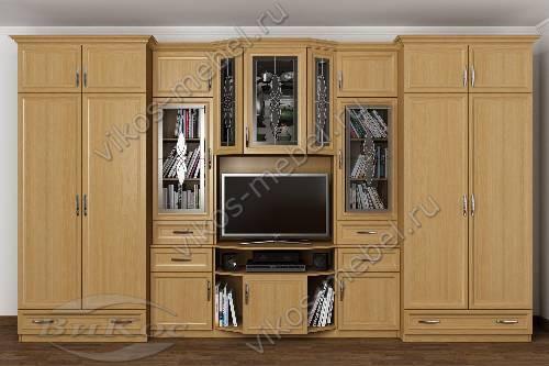 """Мебельная стенка """"варшава"""" в кабинет с вместительным шкафом цвета бук"""