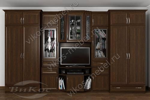 """Мебельная стенка """"варшава"""" классика в кабинет с вместительным шкафом цвета венге"""