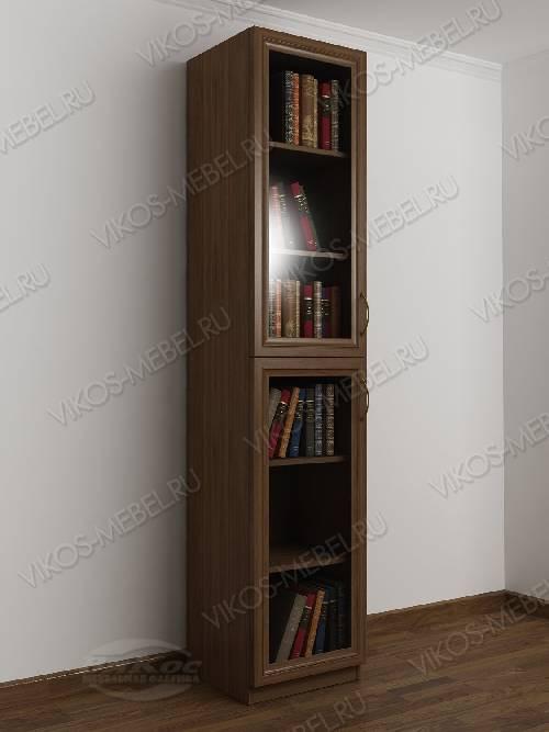 1-дверный книжный шкаф со стеклянными дверями цвета шимо темный
