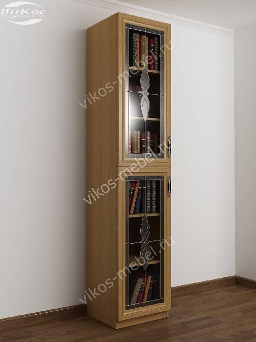 1-дверный книжный шкаф со стеклянными дверями c витражным стеклом цвета бук