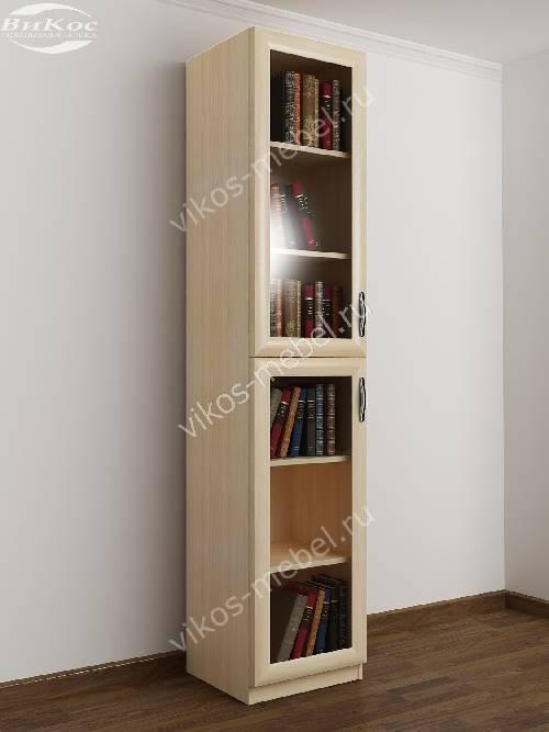 1-дверный книжный шкаф со стеклянными дверями цвета молочный беленый дуб