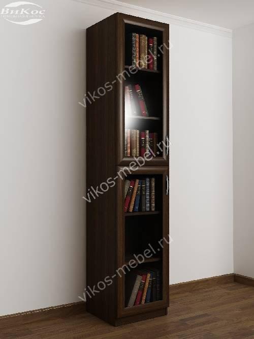 1-дверный книжный шкаф со стеклянными дверями цвета венге