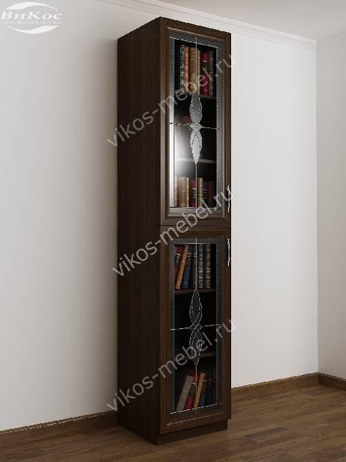 1-дверный книжный шкаф со стеклянными дверями с витражом цвета венге