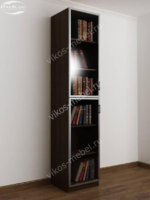 1-дверный книжный шкаф со стеклянными дверями цвета венге - молочный дуб