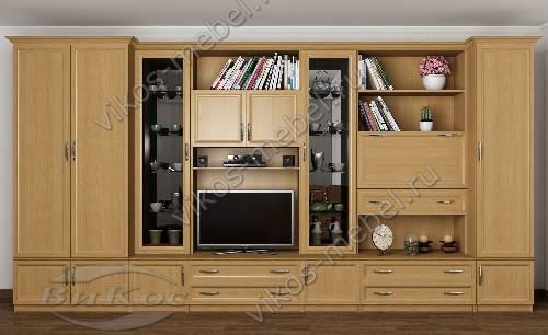 """Мебельная стенка """"викос 2"""" в гостиную с вместительным шкафом цвета бук"""