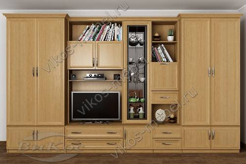 """Мебельная стенка """"викос 3"""" в зал с вместительным шкафом цвета бук"""