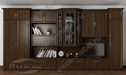"""Стенка """"виктор"""" в гостиную с вместительным шкафом в классическом стиле цвета венге"""
