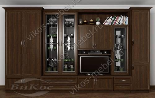 """Стенка """"новелла 11к"""" классика в гостиную с вместительным шкафом цвета венге"""