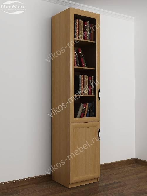 Одностворчатый книжный шкаф со стеклянными дверцами цвета бук