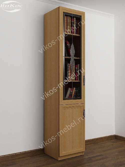 Одностворчатый витражный книжный шкаф со стеклянными дверцами цвета бук