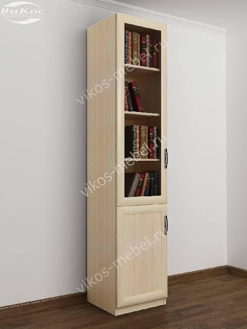 Одностворчатый книжный шкаф со стеклянными дверцами цвета молочный беленый дуб