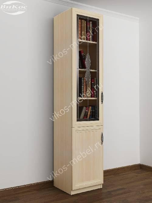 Одностворчатый книжный шкаф со стеклянными дверцами c витражным стеклом цвета молочный беленый дуб