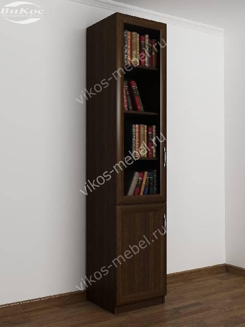 Одностворчатый книжный шкаф со стеклянными дверцами цвета венге