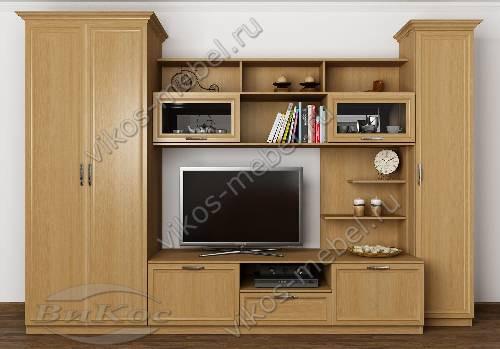 """Мебельная стенка """"верона-1"""" в гостиную с вместительным шкафом цвета бук"""