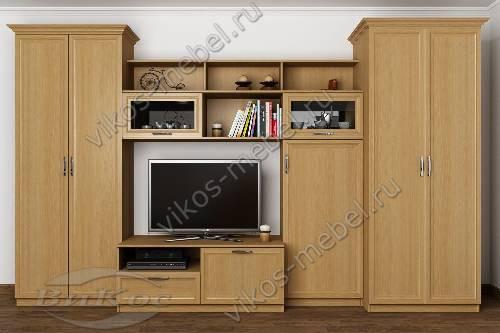 """Модульная мебельная стенка """"верона-3"""" в кабинет цвета бук"""