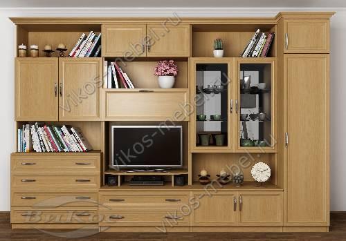 """Мебельная стенка """"марина-2"""" в гостиную цвета бук"""