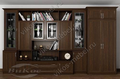 """Стенка """"марина-3"""" в кабинет с вместительным шкафом в классическом стиле цвета венге"""