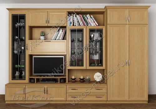 """Мебельная стенка """"марина-4"""" в зал с вместительным шкафом цвета бук"""