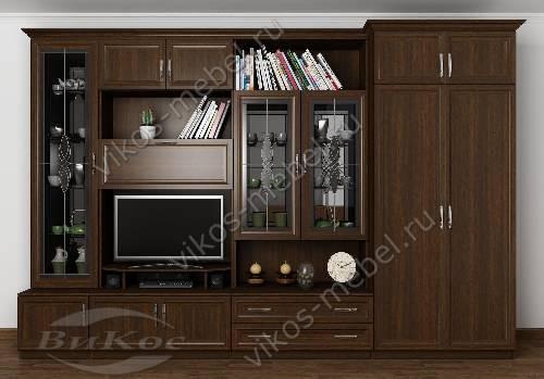 """Мебельная стенка """"марина-4"""" классика в зал с вместительным шкафом цвета венге"""