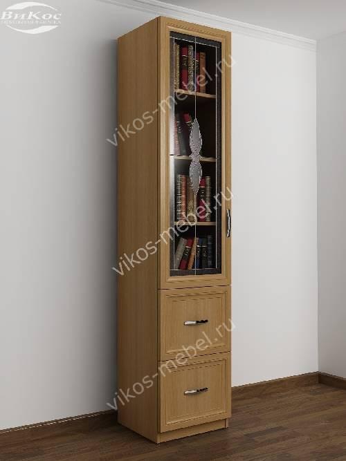 Однодверный книжный шкаф с витражом с ящиками цвета бук