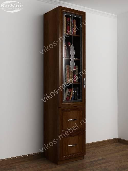 Однодверный витражный книжный шкаф с ящиками цвета яблоня