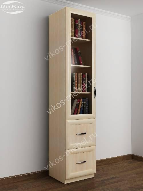 Однодверный книжный шкаф с ящиками цвета молочный беленый дуб