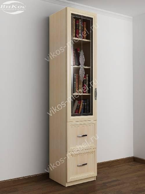 Однодверный книжный шкаф с витражом с ящиками цвета молочный беленый дуб