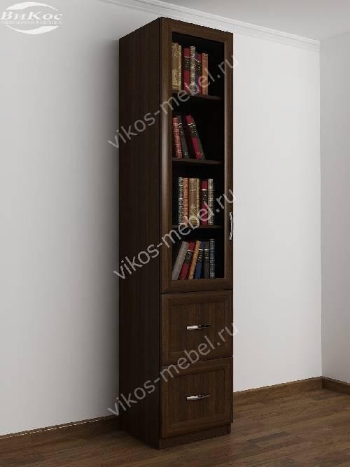 Однодверный книжный шкаф с ящиками цвета венге