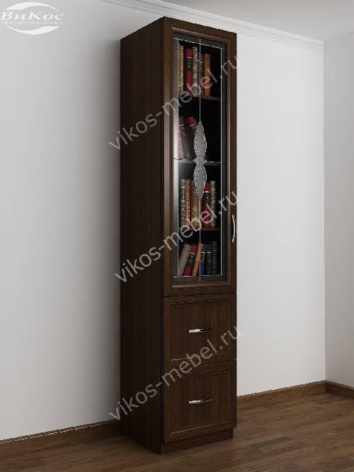 Однодверный книжный шкаф c витражным стеклом с ящиками цвета венге