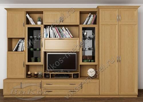 """Мебельная стенка """"марина-8"""" в гостиную с вместительным шкафом цвета бук"""