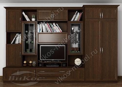 """Классическая мебельная стенка """"марина-8"""" в гостиную с вместительным шкафом цвета венге"""