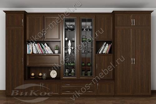 """Стенка """"марина-9"""" в кабинет с вместительным шкафом в классическом стиле цвета венге"""