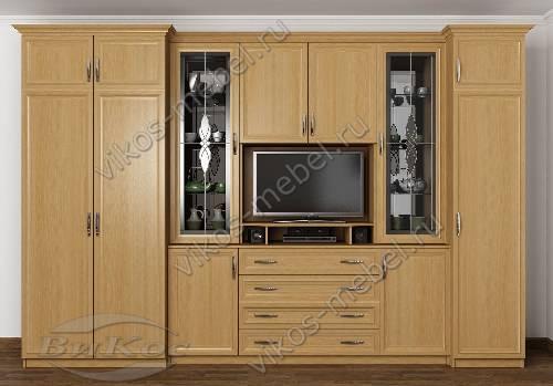 """Стенка """"марина-11"""" в гостиную с вместительным шкафом цвета бук"""