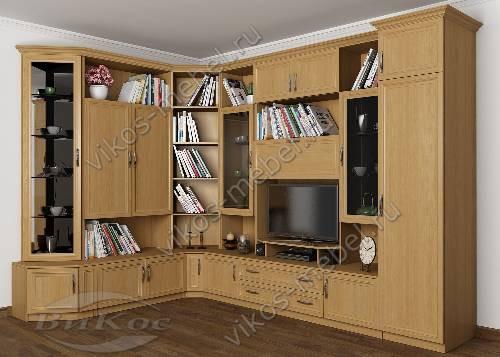 """Угловая мебельная стенка """"марина-14"""" в гостиную цвета бук"""
