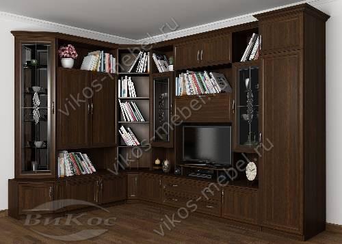 """Угловая классическая мебельная стенка """"Александра-01"""" в гостиную цвета венге"""