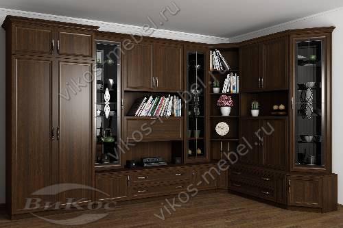 """Угловая стенка """"марина-15"""" в кабинет в классическом стиле цвета венге"""